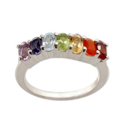 Multi-gemstone chakra ring, 'Positivity' - Multi Gemstone Sterling Silver Ring Chakra Jewelry