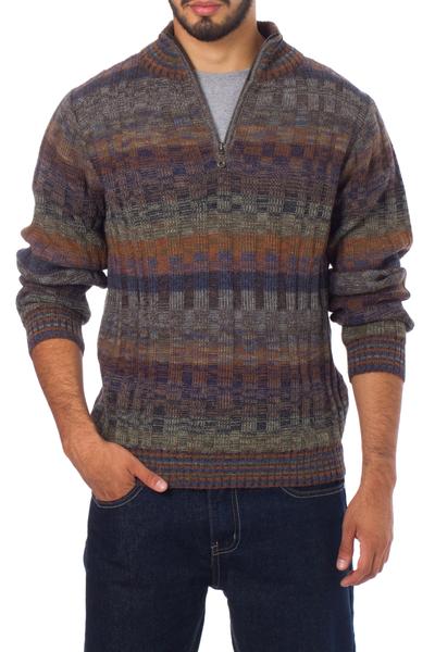 Men's 100% alpaca sweater, 'Traveler' - Peruvian 100% Alpaca Men's Sweater with Zipper