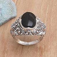 Men's onyx ring, 'Black Sunflower' - Men's Floral Sterling Silver and Onyx Ring