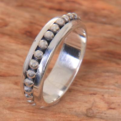 Sterling silver band ring, 'Empress Moon' - Artisan Crafted Sterling Silver Band Ring from Bali