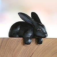 Wood sculpture, 'Curious Rabbit in Black' - Handcrafted Suar Wood Rabbit Sculpture in Black from Bali