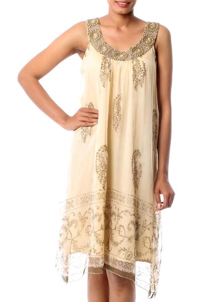 Beige Beaded A-Line Golden Dress with Beadwork