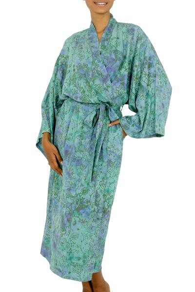 Rayon batik robe, 'Misty Javanese Forest' - Artisan Crafted Women's Rayon Batik Robe