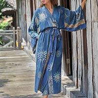 Women's batik robe, 'Midnight in Blue'