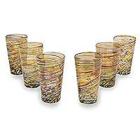 Blown glass highball glasses, 'Rainbow Centrifuge' (set of 6) - Hand Blown Mexican Multicolor 13 oz Highball Glasses (6)