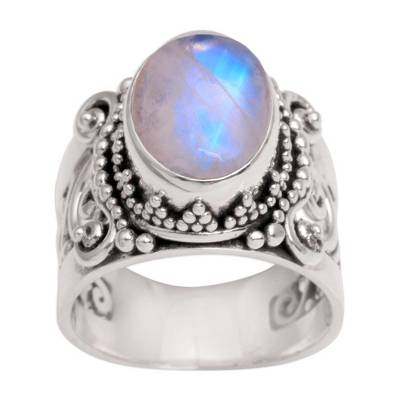 Rainbow Moonstone and Sterling Silver Single Stone Ring