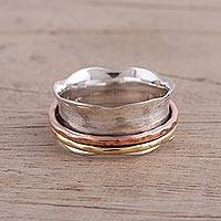 Sterling silver meditation spinner ring, 'Wavy Cyclone' - Sterling Silver Copper and Brass Spinner and Meditation Ring