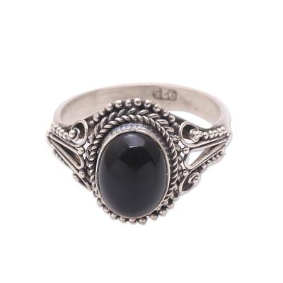 Onyx single-stone ring, 'Princess Gem' - Handmade Onyx Single-Stone Ring from Bali