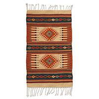Zapotec wool rug, 'Mexican Chrysanthemum' (2x3.5) - Fair Trade Geometric Wool Area Rug (2x3.5)