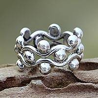 Sterling silver band ring, 'Floral Buds'