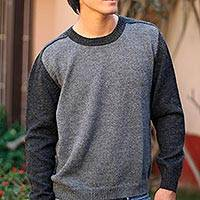 100% alpaca men's sweater, 'Inca Legend' - Men's Alpaca Wool Pullover Sweater