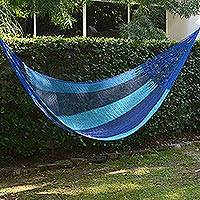 Hammock, 'Afternoon Breeze' (single) - Hand Crafted Blue Striped Nylon Rope Single Hammock