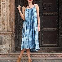 Tie-dyed cotton dress, 'Navy Rain'