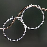 Sterling silver hoop earrings, 'Moonlit Goddess' (large)