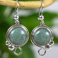 Jade dangle earrings, 'Melody in Apple Green' - Guatemalan Silver 925 Dangle Earrings with Light Green Jade
