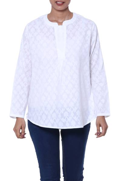 Cotton tunic, 'Brocade Shadow' - 100% Cotton Long-Sleeved White Tunic