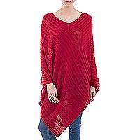 Poncho, 'Red Inca Maze' - Hand Dyed Red Poncho from Peru
