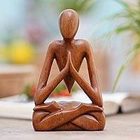 Wood sculpture, 'Natural Meditation' - Wood Lotus Meditation Yoga Sculpture Hand Carved in Bali