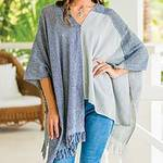 Guatemalan Handwoven Natural and Recycled Cotton Poncho, 'Textures of Guatemala'