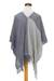 Cotton poncho, 'Textures of Guatemala' - Guatemalan Handwoven Natural and Recycled Cotton Poncho (image 2c) thumbail