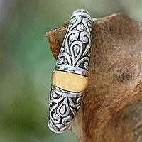 Gold accent cocktail ring, 'Balinese Twilight'
