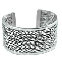 Sterling silver cuff bracelet, 'Gleaming Ropes' - Wide Sterling Silver Cuff Bracelet from Mexico
