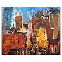 Giclée print on canvas, 'Structure II' by Somenath Maity - India Abstract Cityscape Color Archival Print on Canvas