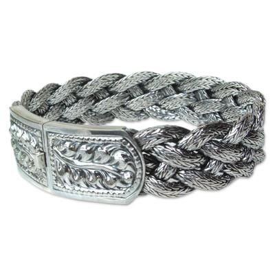 Sterling silver braided bracelet, 'Symmetry' - Fair Trade Sterling Silver Wristband Bracelet