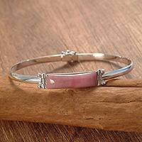 Rhodonite pendant bangle bracelet, 'Chasca' - Rhodonite and Sterling Silver Pendant Bracelet