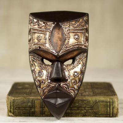 African wood mask, 'Mbara Hunter' - Aluminum and Wood African Mask Textured from Ghana