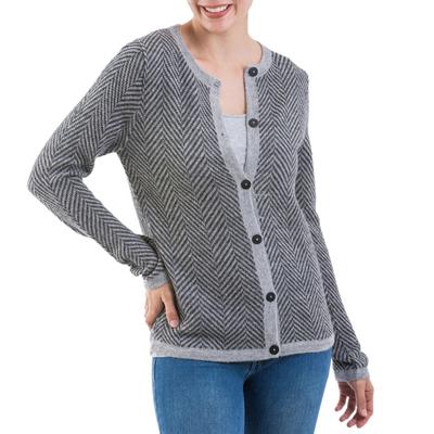 100% alpaca cardigan, 'Cloudy Sky' - Grey 100% Alpaca Wool Cardigan Sweater from Peru