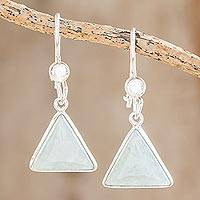 Jade dangle earrings, 'Apple Green Triangle of Life' - Triangular Apple Green Jade Dangle Earrings from Guatemala