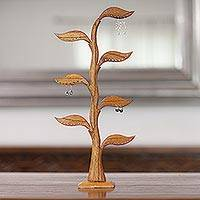 Wood earring holder, 'Daun Salam in Brown' - Hand Carved Natural Wood Earring Holder with Bay Leaves
