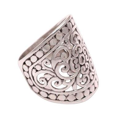 Sterling silver band ring, 'Memory of Bali' - Handmade Sterling Silver Wide Band Ring from Indonesia