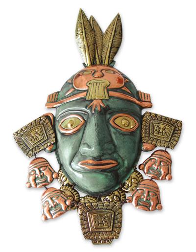 Copper and bronze mask, 'Inca Warrior' - Inca Bronze and Copper Mask