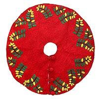 Wool felt tree skirt, 'Jungle Christmas' - Red and Green Wool Christmas Tree Skirt from India