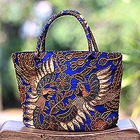 Beaded cotton  batik tote handbag 'Glorious Java'