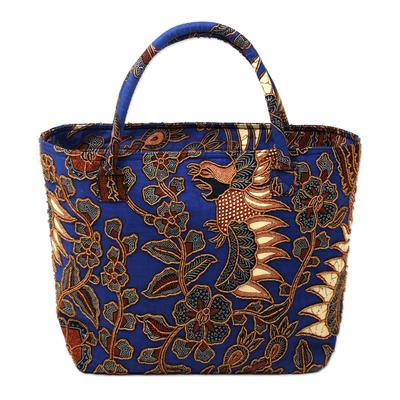 Beaded cotton  batik tote handbag 'Glorious Java' - Beaded Blue Cotton Batik Handbag Hand Crafted in Bali