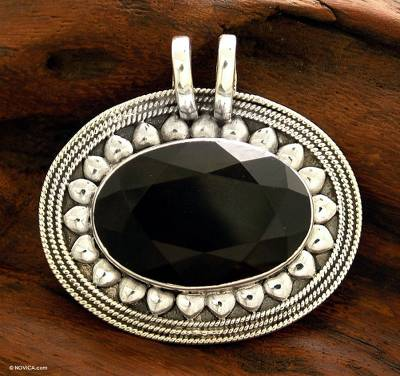 Smoky quartz pendant, 'Shadow Blossom' - Smoky Quartz Sterling Silver Pendant Floral Jewelry