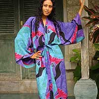 Women's batik robe, 'Turquoise Ocean' (long)