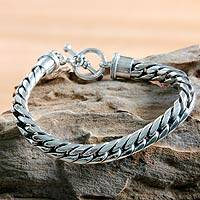 Men's sterling silver braided bracelet, 'Silver Choices' - Men's Sterling Silver Chain Bracelet