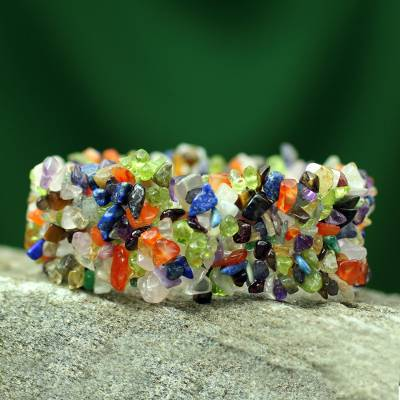 Multi-gemstone stretch bracelet, Rainbow Magic