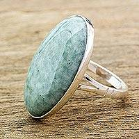 Jade cocktail ring, 'Shades of Green' - Handcrafted Minimalist Forest Green Jade and Silver Ring