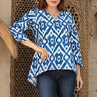 Cotton tunic, 'Azure Beauty'