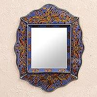 Mirror, 'Pretty in Blue' - Floral Blue Mirror Charming Artisan Reverse Painted Glass