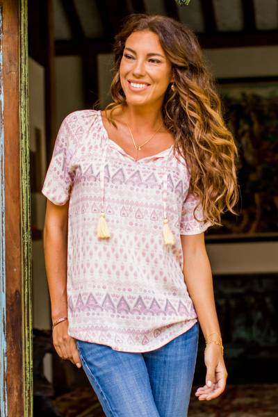 Rayon blouse, 'Plains of Bali' - Balinese Short Sleeved Pale Yellow and Purple Rayon Blouse