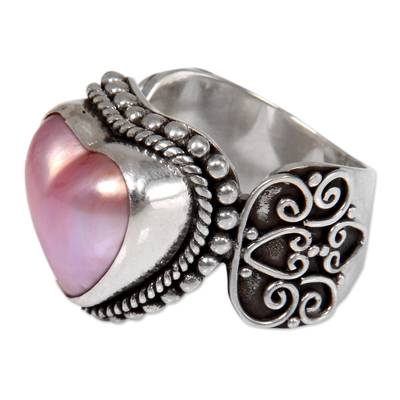 Cultured mabe pearl cocktail ring, 'Romance in Pink' - Romantic Heart Shaped Pink Cultured Mabe Pearl Ring
