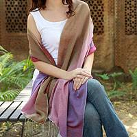 Silk and wool shawl, 'Colors in the Mist' - Women's Wrap Silk Wool Blend Shawl