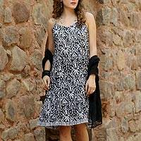 Cotton sundress, 'Black Impressions' - 100% Cotton Black Printed Floral Dress from India