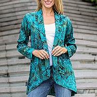 Rayon batik jacket, 'Kenanga' - Long Sleeve Women's Rayon Jacket with Teal Floral Print